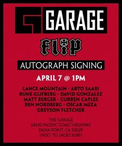 Flip skateboards Garage Signing