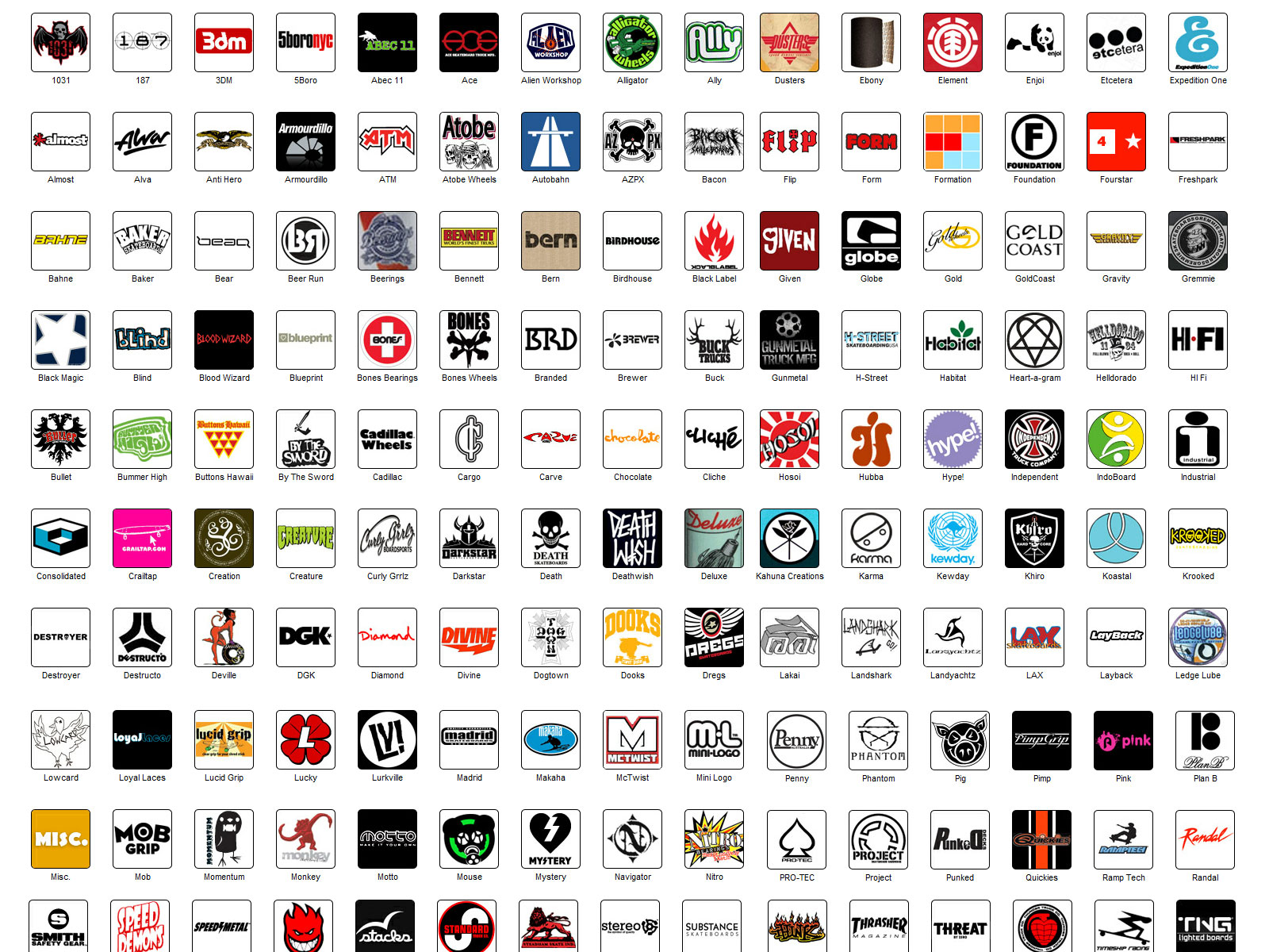 Skateboarding brands - list of skateboard brands